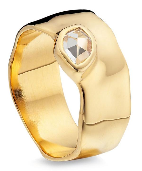 Gold Vermeil White Topaz Wide Siren Band