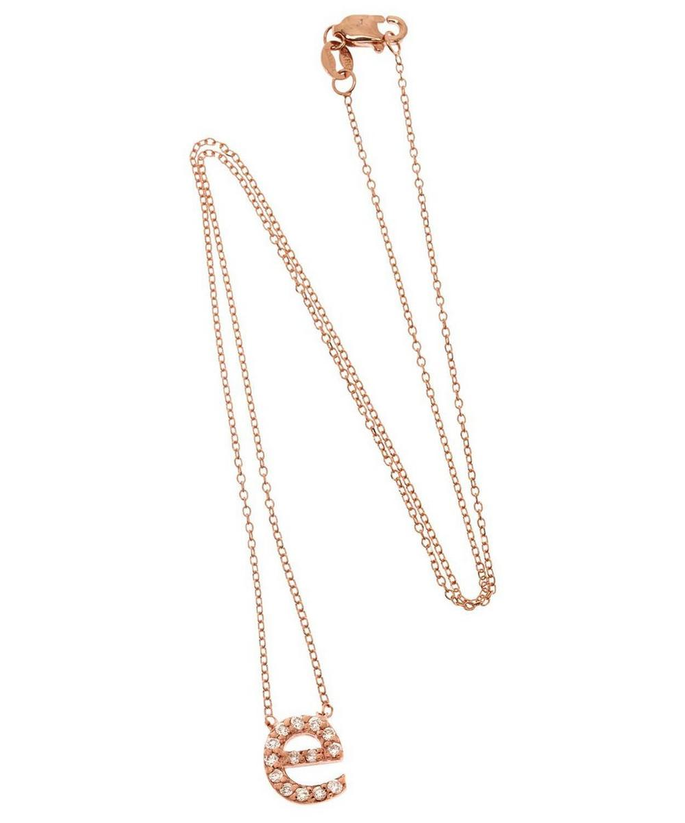 Rose Gold Diamond Letter E Necklace