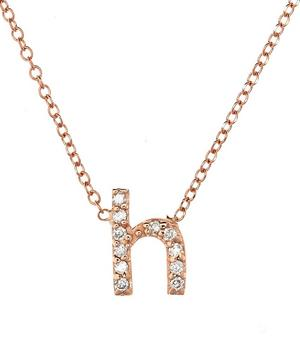 Rose Gold Diamond Letter H Necklace