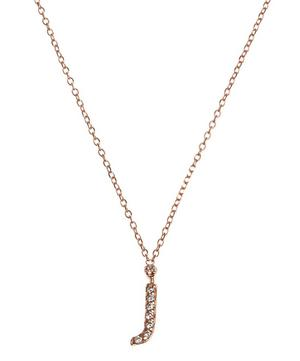 Rose Gold Diamond Letter J Necklace