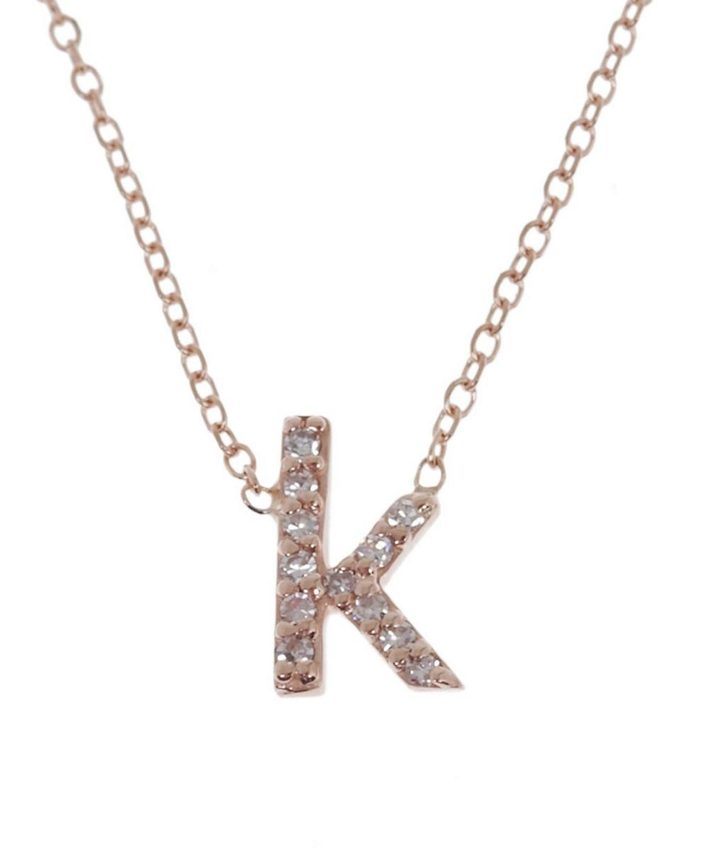 Rose Gold Diamond Letter K Necklace