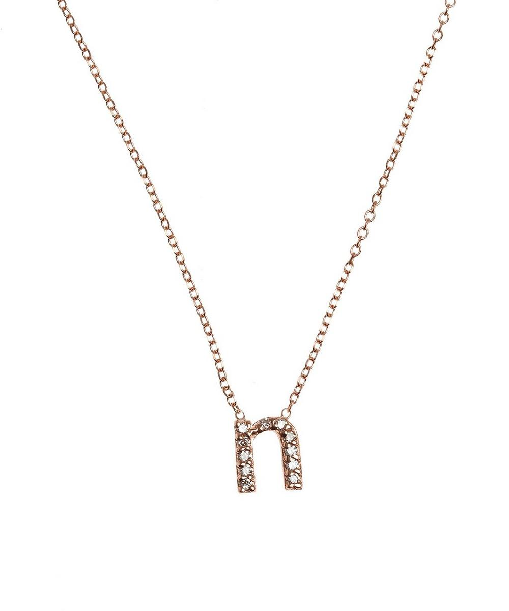 Rose Gold Diamond Letter N Necklace