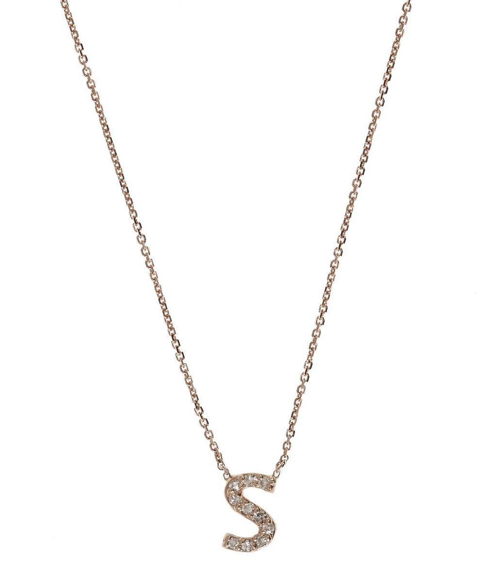 Rose Gold Diamond Letter S Necklace
