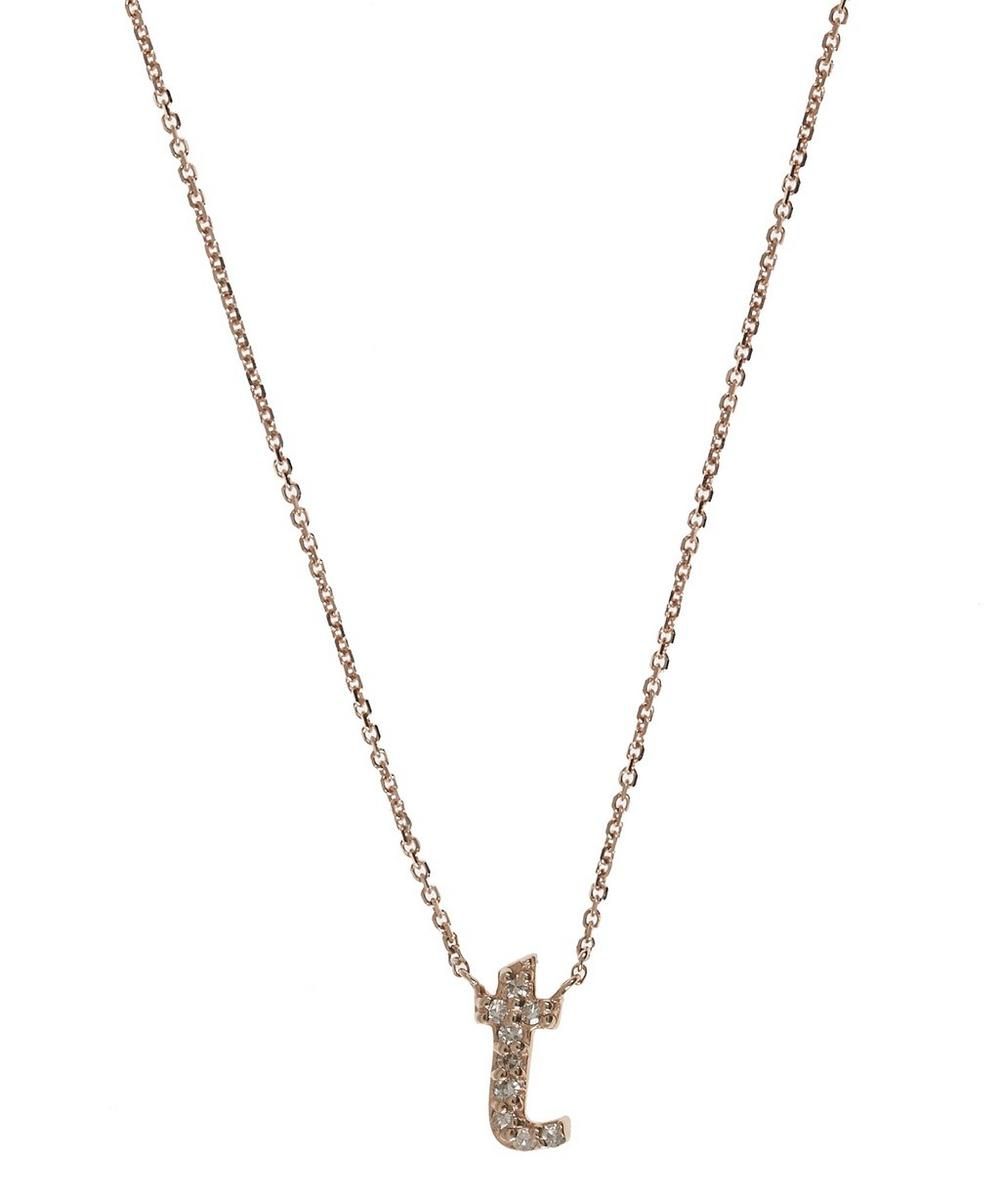 rose gold diamond letter t necklace