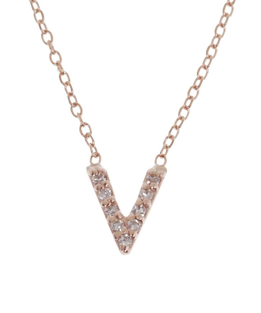 Rose Gold Diamond Letter V Necklace