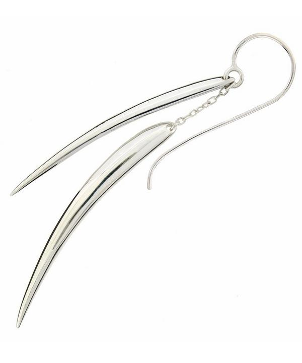 Silver Double Long Tusk Earrings