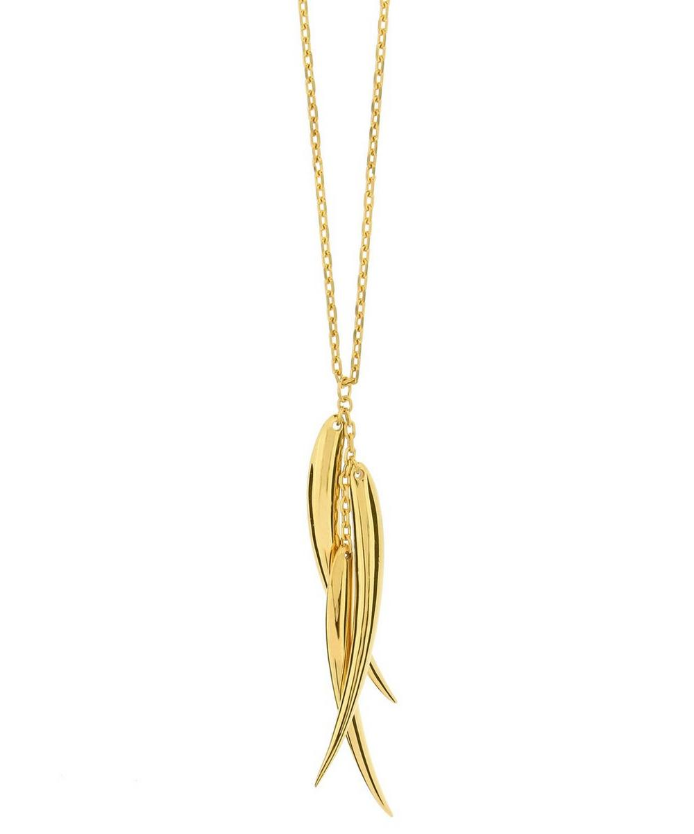 Gold Vermeil Three Tusk Necklace