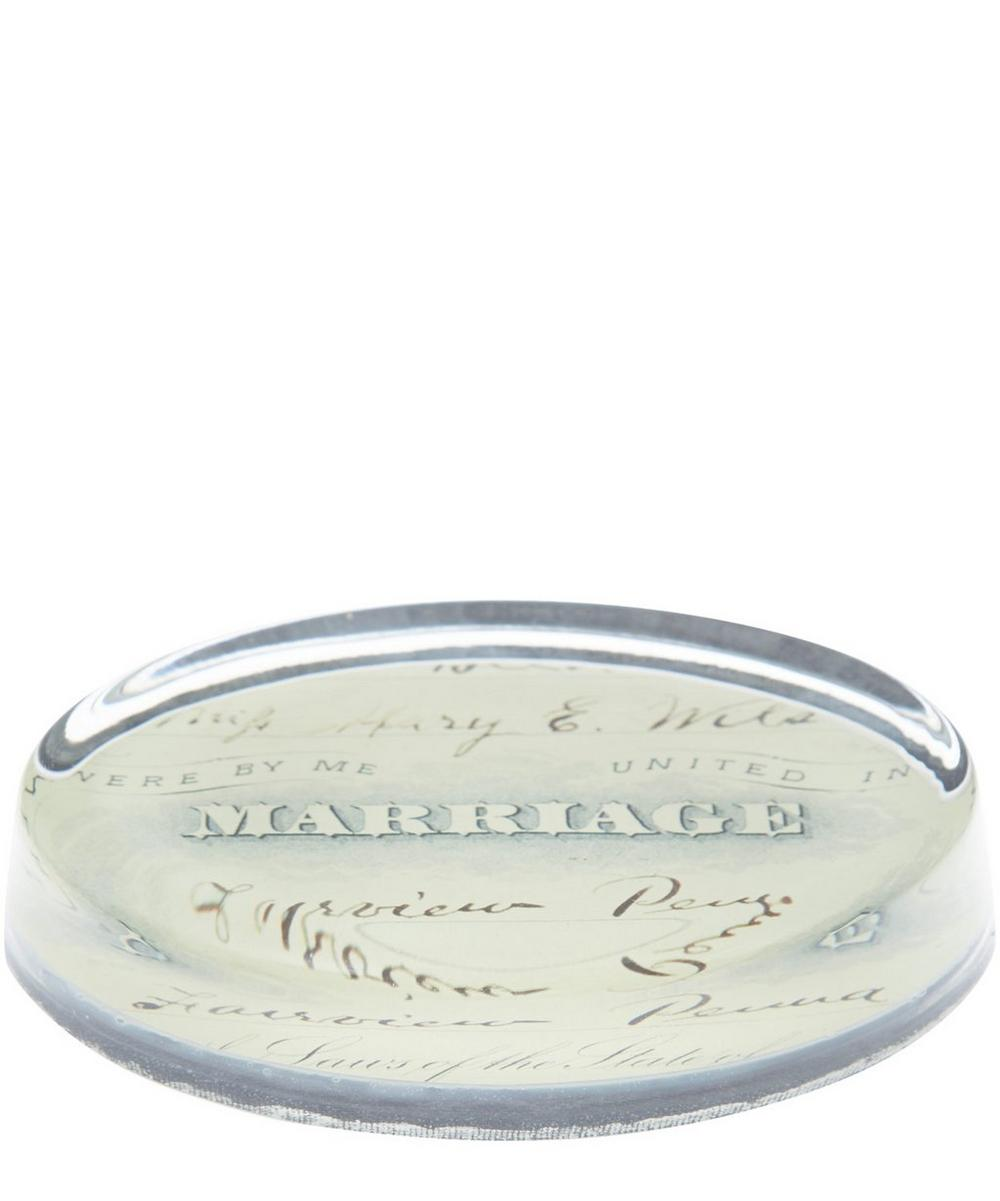 Marriage Glass Oval Paperweight