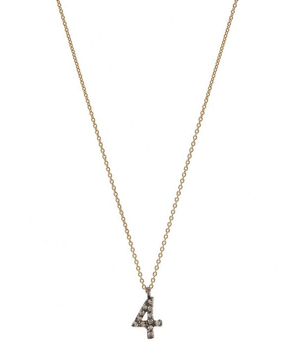 Rose Gold and Diamond Number 4 Necklace