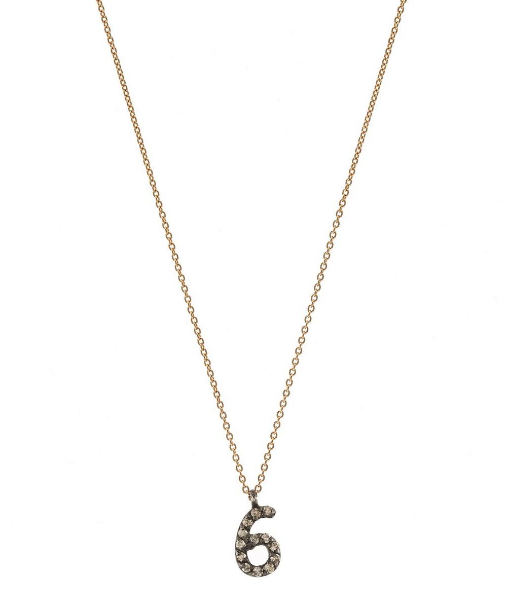 Rose Gold and Diamond Number 6 Necklace