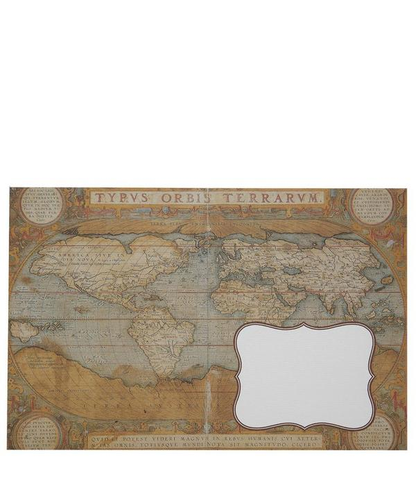 World Map Print Postcard and Envelope Set