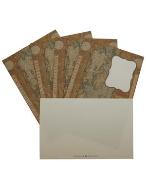 World Map Print Postcard and Envelope Set