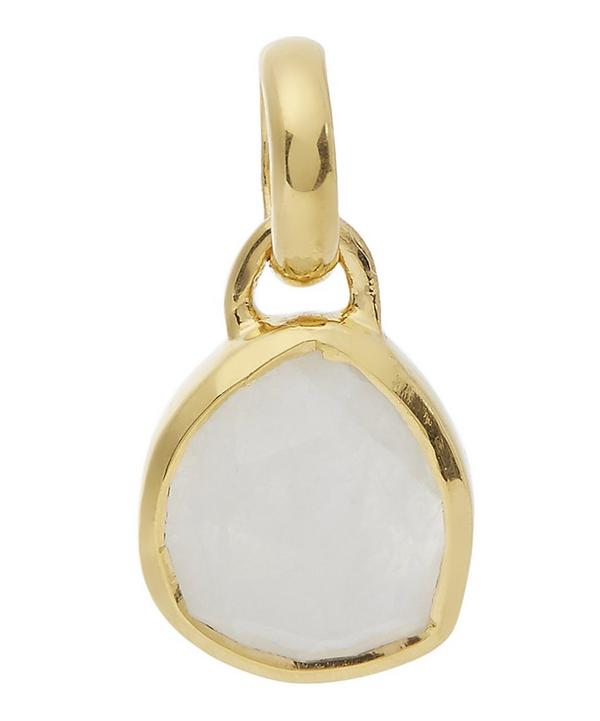 Gold-Plated Mini Siren Moonstone Bezel Pendant