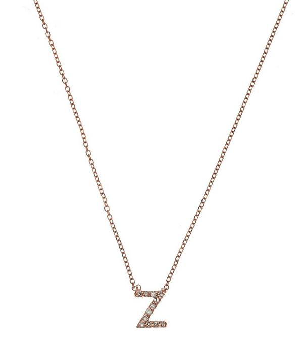 Rose Gold Diamond Letter Z Necklace
