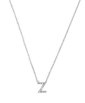 White Gold Diamond Letter Z Necklace