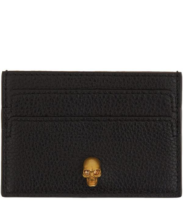 Black Pebble Leather Skull Card Holder