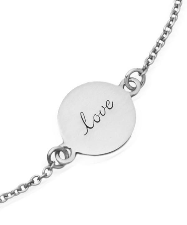 Tiny Silver Laser Cut Love Disc Bracelet