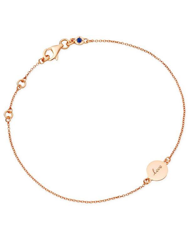 Tiny Rose Gold Laser Cut Love Disc Bracelet