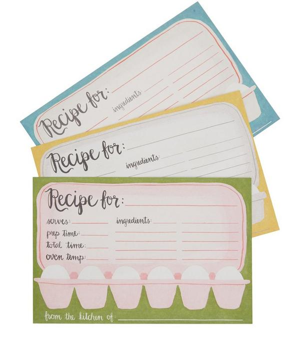 Egg Carton Recipe Card Set