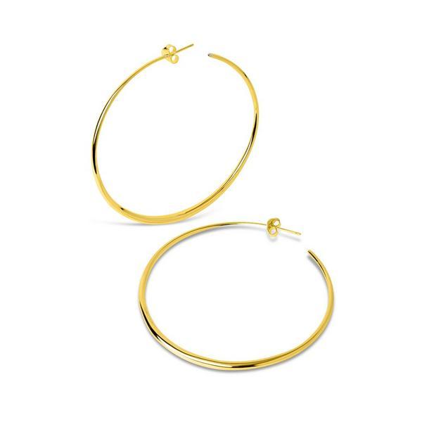 Large Vermeil Signature Tapering Hoop Earrings