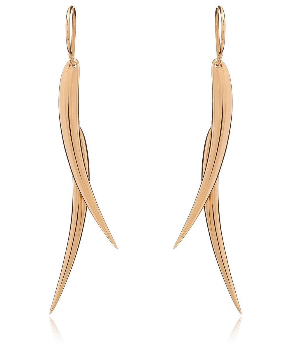 Long Vermeil Double Tusk Earrings