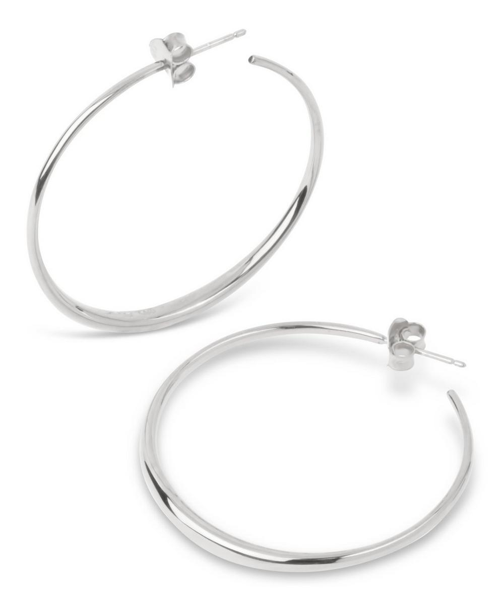 Medium Silver Round Tapering Hoop Earrings