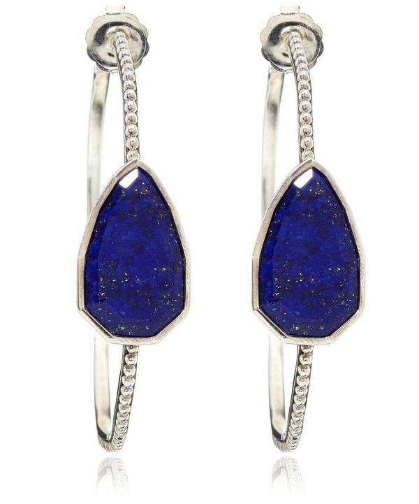 Lapis Lazuli Cathedral Hoop Earrings