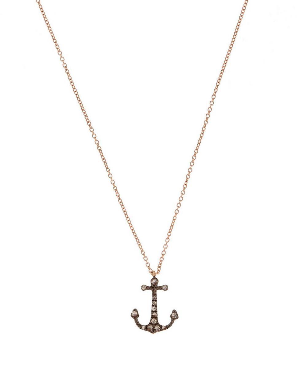 Rose Gold Love Diamonds Anchor Necklace