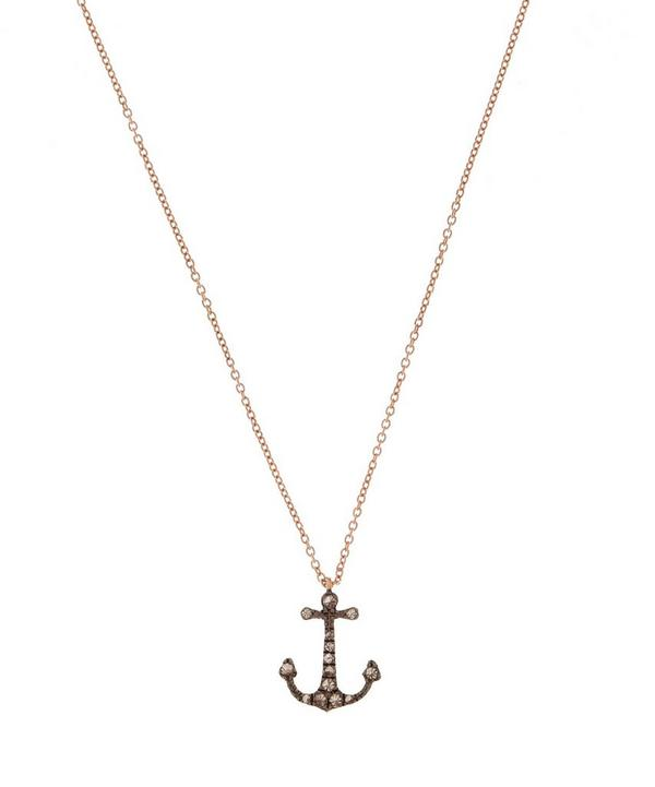 Rose Gold Love Diamonds Anchor Necklace