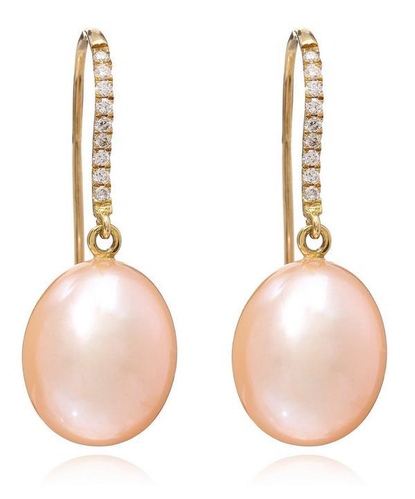 Pink Pearl and Diamond Pear Drop Earrings