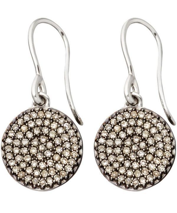 Small White Gold Diamond Cognac Diamond Icon Earrings