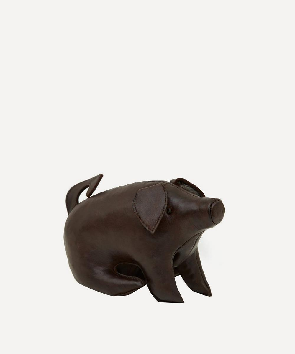 Miniature Leather Sitting Pig