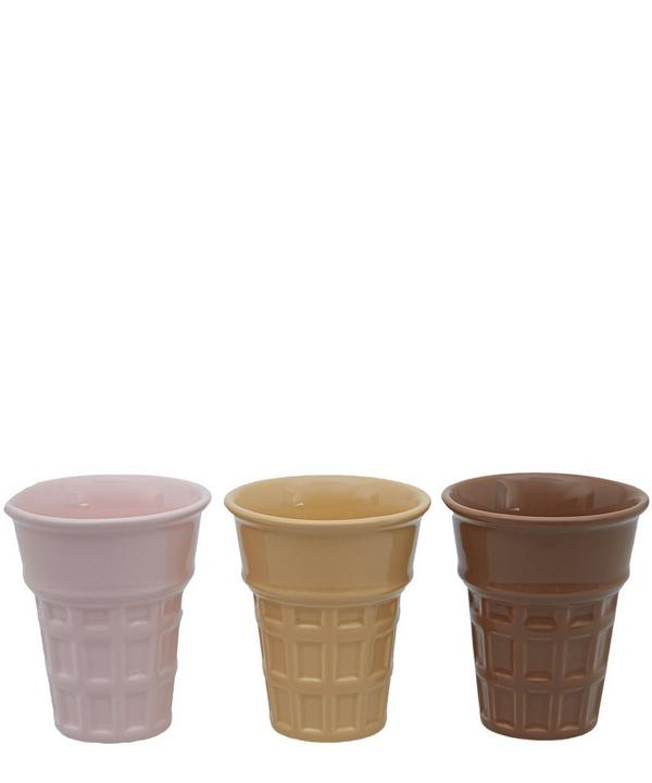 Set of Three Ceramic Ice Cream Cones