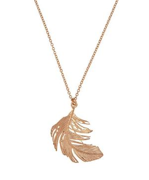 Large Rose Gold Vermeil Feather Necklace