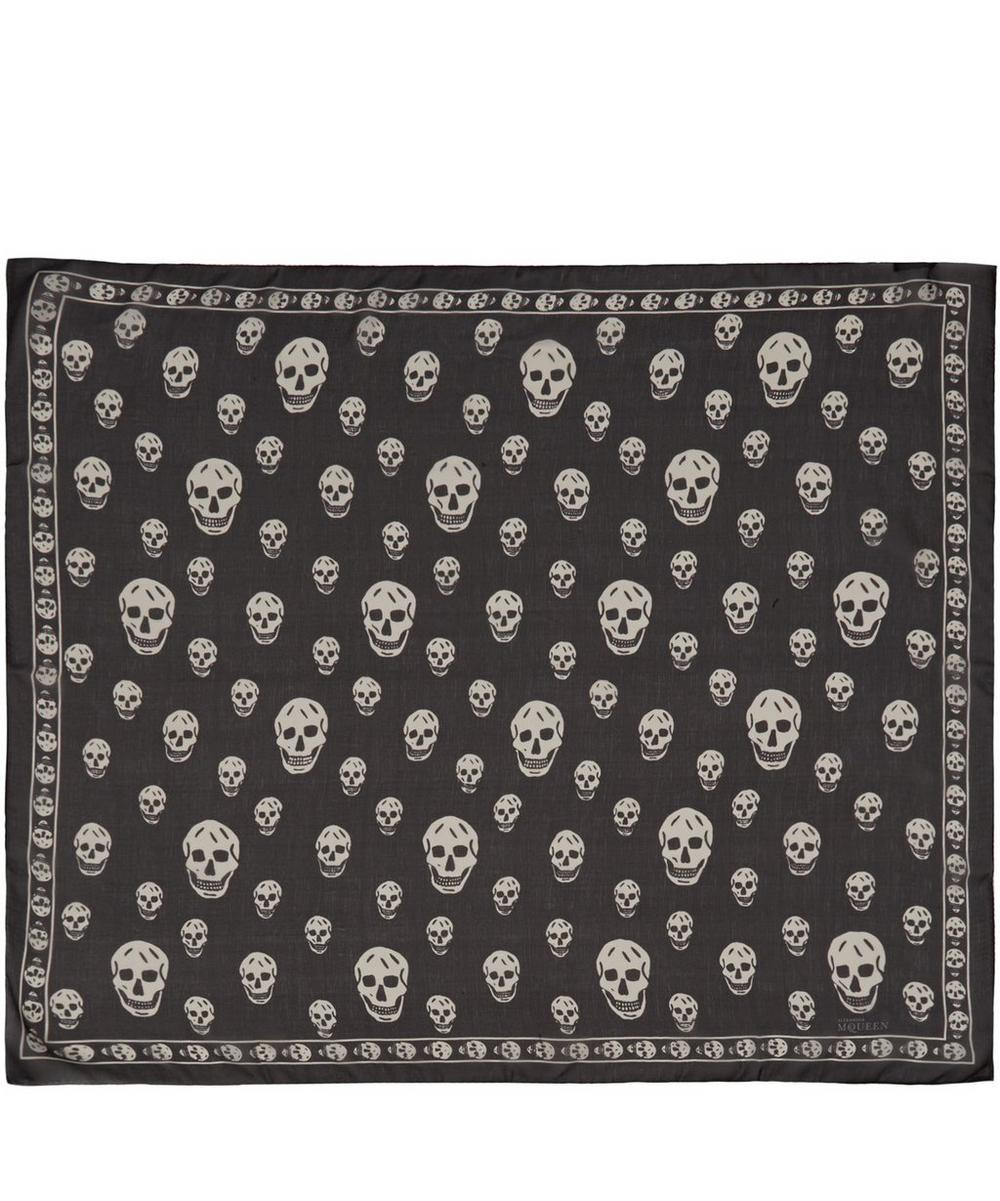 Skull Print Chiffon Silk Scarf
