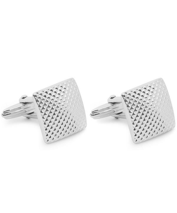 Rhodium-plated Quilted Square Cufflinks