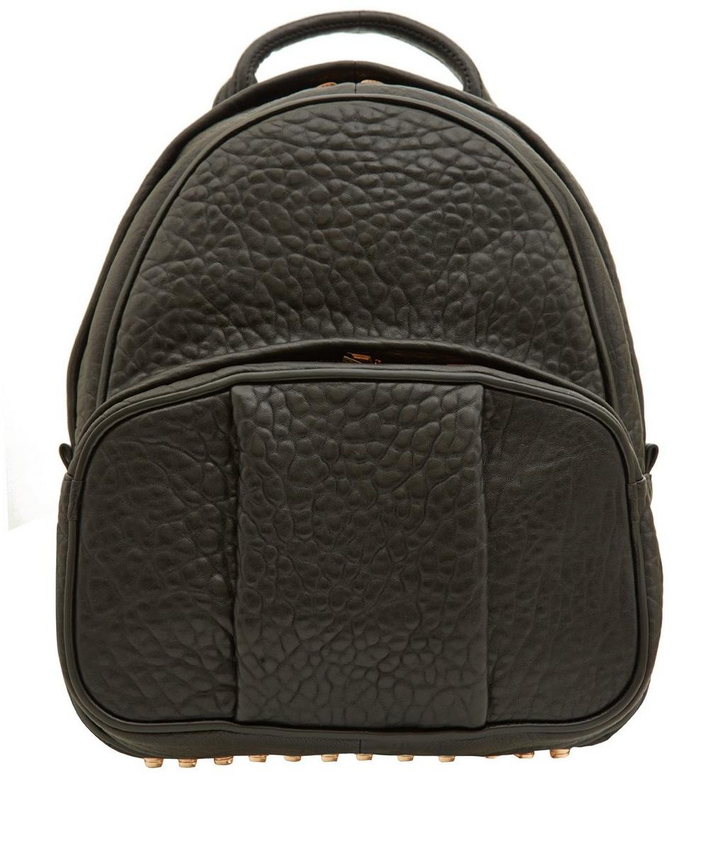 Leather Dumbo Backpack with Rose Gold Studs