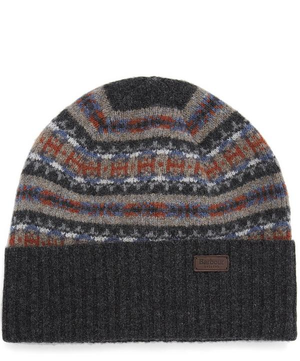 Grey Melrose Fairisle Wool Beanie Hat