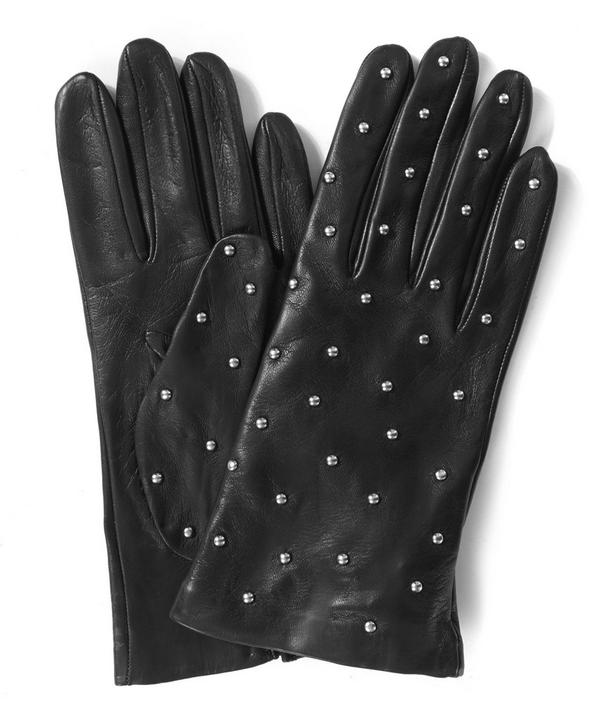 Black Studded Leather Gloves
