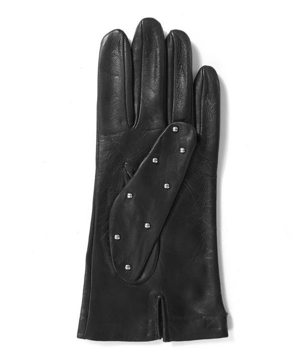 Black Studded Leather Gloves