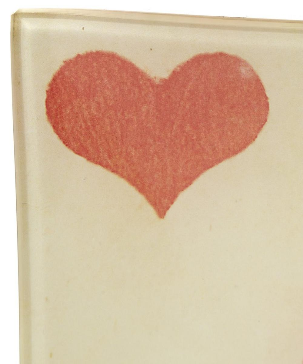 Five of Hearts Square Glass Plate