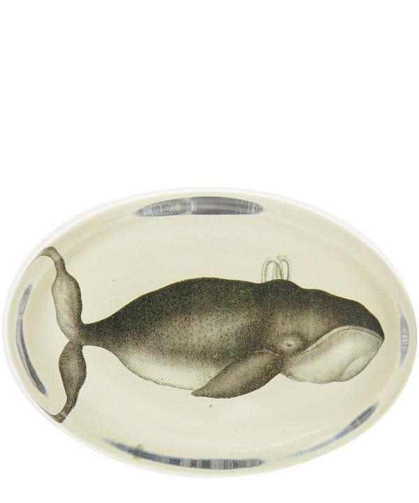 Whale Oval Glass Paperweight