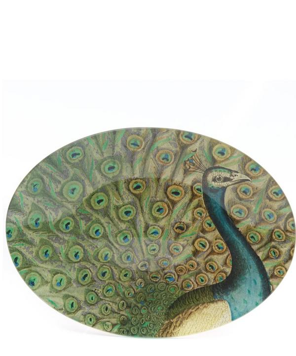 Peacock Flourish Glass Oval Tray
