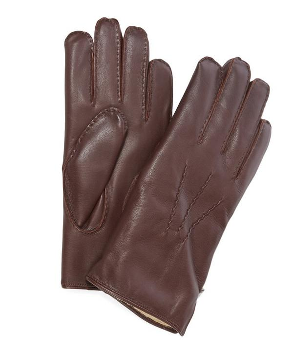 Brown Fur Lined Leather Gloves