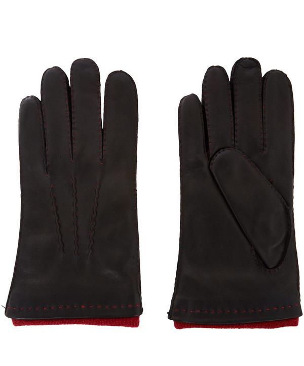Contrast Lining Hand Sewn Leather Gloves