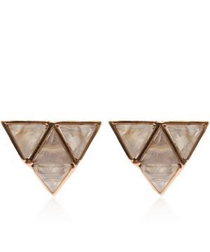 Rose Gold Rainbow Moonstone Stud Earrings