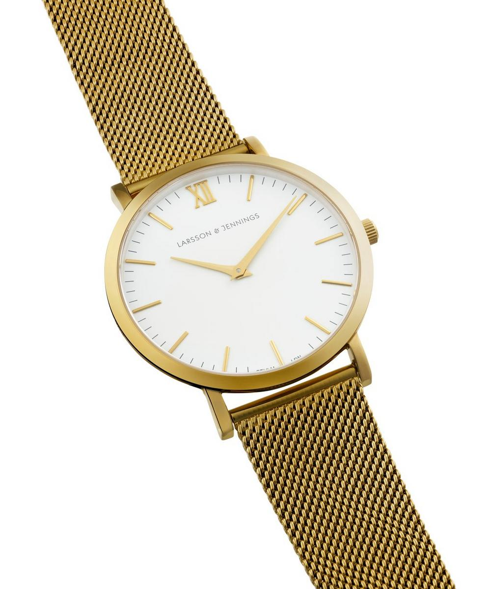 Lugano 40mm Gold-White Milanese Watch
