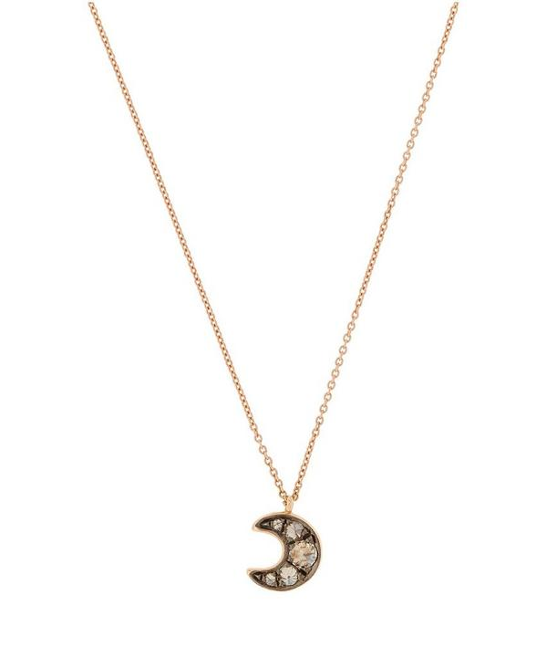 Rose Gold Love Diamonds Moon Pendant Necklace