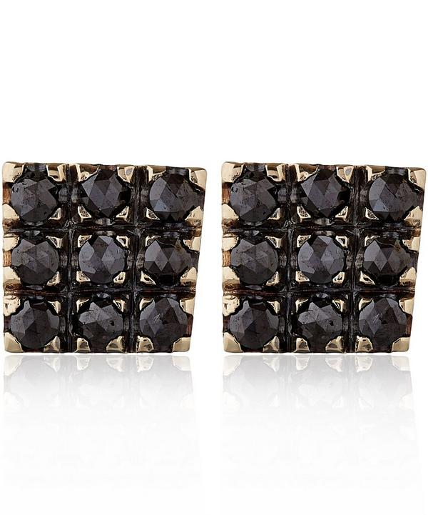 White Gold Black Diamond Square Stud Earrings