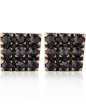White Gold Black Diamond Square Stud Earrings